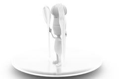 3d man cook with spoon concept Royalty Free Stock Images