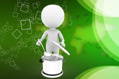 3d man cooking illustration Royalty Free Stock Images