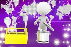 3d man cooking illustration Stock Images