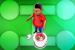 3d man cooking illustration Royalty Free Stock Photography