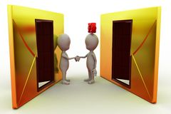 3d man couple mail concept Royalty Free Stock Images