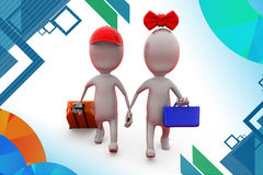 3d man couple trip  illustration Stock Photography