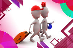 3d man couple trip  illustration Stock Photos