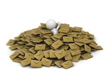 3D Man covered in pile of emails royalty free illustration