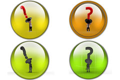 3d man cowboy question icon Stock Image