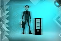 3d man with cpu illustration Royalty Free Stock Images