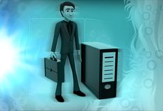 3d man with cpu illustration Stock Image