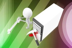 3d man cpu screw driver and hammer illustration Royalty Free Stock Photography
