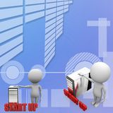 3d man with cpu Start Up Concept Royalty Free Stock Image
