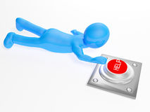 3d man crawling to the help button Royalty Free Stock Images