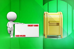 3d man credit card post man illustration Royalty Free Stock Photo