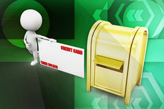 3d man credit card post man illustration Royalty Free Stock Image