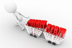 3d man with credit debit text on shopping cart concept Stock Image