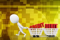 3d man with credit debit text on shopping cart illustration Stock Photos