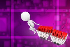 3d man with credit debit text on shopping cart illustration Stock Photography