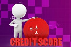3d man credit score illustration Royalty Free Stock Images