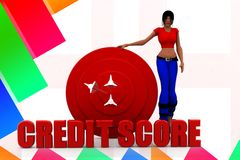 3d man credit score illustration Royalty Free Stock Photos
