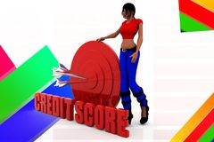 3d man credit score illustration Royalty Free Stock Photography