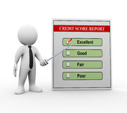 3d man and credit score report. 3d illustration of man business person pointing to good credit score report.  3d rendering of man human people character Stock Photos