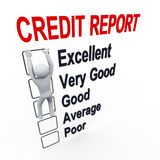 3d man and credit score report Royalty Free Stock Image