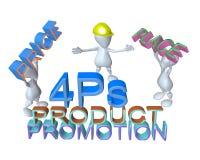 3d man crew holding the marketing mix 4ps Stock Photos