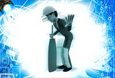3d man cricket batsman asking to wait by showing hand illustration Stock Photography