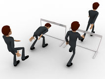 3d man cross barrier with different ways concept Stock Photography