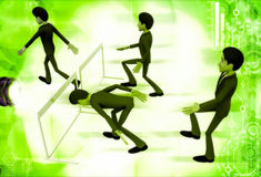 3d man cross barrier with different ways illustration Stock Image