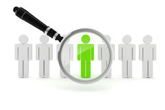 3d man crowd and magnifying glass. 3d man, crowd and magnifying glass Royalty Free Stock Photos
