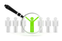 3d man crowd and magnifying glass. 3d man, crowd and magnifying glass Stock Images