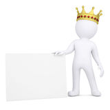 3d man with crown holding blank business card. 3d white man with a crown holding a blank business card.  render on a white background Royalty Free Stock Photos