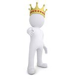 3d man with crown pointing finger at the viewer. 3d white man with the crown pointing the finger at the viewer.  render on a white background Royalty Free Stock Image