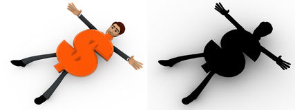 3d man crushed under dollar symbol concept collections with alpha and shadow channel Royalty Free Stock Image