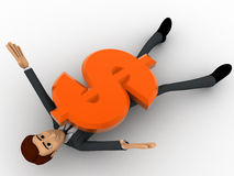 3d man crushed under dollar symbol concept Stock Photo