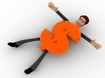 3d man crushed under dollar symbol concept Royalty Free Stock Image