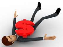 3d man crushed under red dollar symbol concept Royalty Free Stock Photography