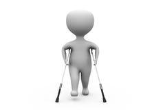 3d man on crutches concept Stock Photos