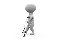 3d man on crutches concept Stock Photography