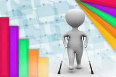 3d man on crutches illustration Royalty Free Stock Photography
