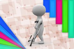 3d man on crutches illustration Stock Images