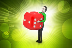 3d man with cube Stock Photo