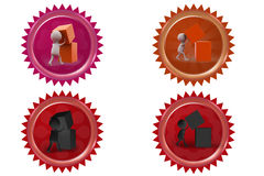 3d man with cube icon Royalty Free Stock Images