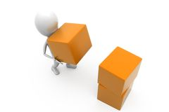 3d man cubes concept Royalty Free Stock Photo