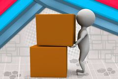 3d man cubes illustration Royalty Free Stock Photography