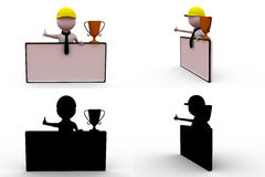 3d man with cup and banner concept collections with alpha and shadow channel Stock Photo