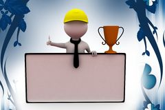 3d man with cup and banner  illustration Royalty Free Stock Image
