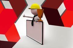 3d man with cup and banner  illustration Royalty Free Stock Photo