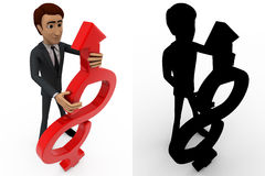 3d man with with curved arrow concept collections with alpha and shadow channel Stock Photos