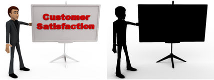 3d man with customer satisfaction sign board concept collections with alpha and shadow channel Stock Image