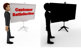 3d man with customer satisfaction sign board concept collections with alpha and shadow channel Royalty Free Stock Images